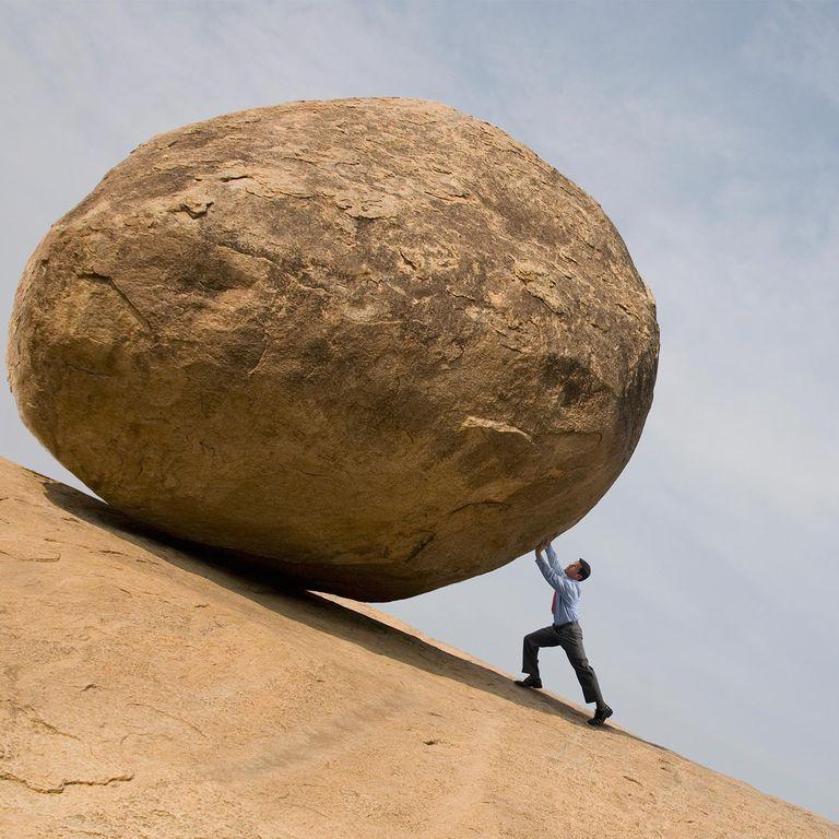 Image result for pushing boulder up hill