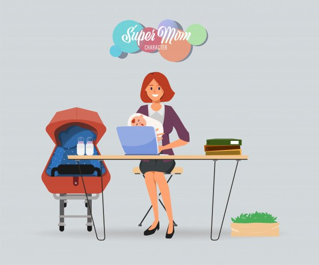 Busy mother with baby and hardworking character. | Premium Vector