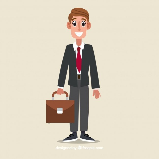 Happy salesman character with flat design | Free Vector