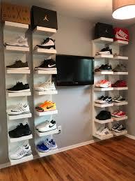 DIY shoe display using IKEA lack shelves | Sneakerhead room, Ikea ...